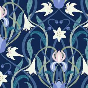Art Nouveau lilies XL 24 inch midnight blue