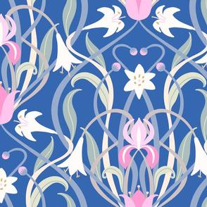 Art Nouveau lilies XL 24 inch blue pink