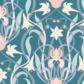 Art Nouveau lilies XL 24 inch steel