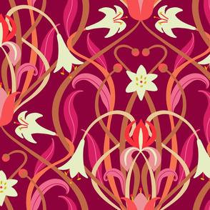 Art Nouveau lilies XL 24 inch burgundy