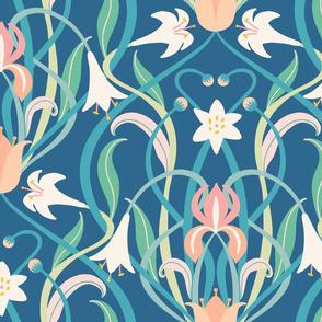 Art Nouveau lilies XL 24 inch dark teal