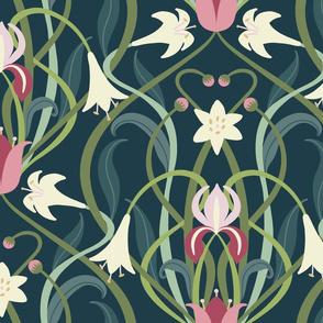 Art Nouveau lilies XL 24 inch forest green