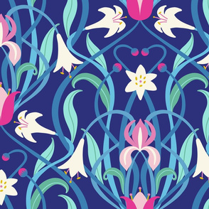 Art Nouveau lilies XL 24 inch royal blue fuchsia