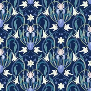 Art Nouveau lilies 12 inch midnight blue