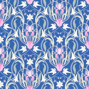 Art Nouveau lilies 12 inch blue pink