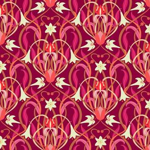 Art Nouveau lilies 12 inch burgundy
