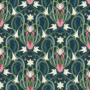 Art Nouveau lilies 12 inch forest green