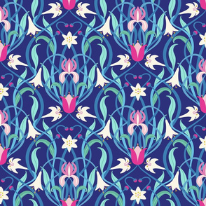 Art Nouveau lilies 12 inch royal blue fuchsia