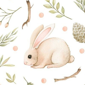 Watercolor forest pattern of delicate dusty pink rabbit, pink birds, berries, twigs. The pattern is perfect for Easter, for children's fabrics, bed linen and other products