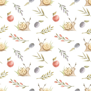 Watercolor delicate pattern of playful snails, plums, apples, berries and olive branches.