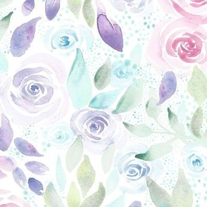 Bed of Blooms A| Pink Purple Blue FlowersRenee Davis