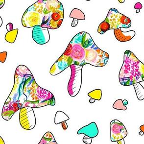 Kitschy Mushrooms // Neon Summer Floral