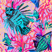 coral tropical fish lavender