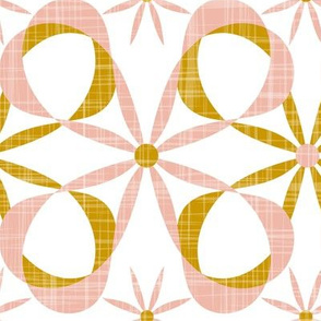 Charleston - White Blush & Goldenrod Mid Century Modern Geometric Jumbo Scale