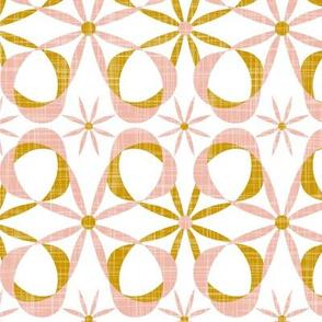 Charleston - White Blush & Goldenrod Mid Century Modern Geometric Large Scale