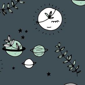 Little boho moon and stars jungle universe kawaii planets style kids gray stone blue mint night