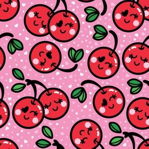 aloha cherry on pink with dots