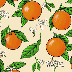 Vintage Oranges and Blossoms - Yellow