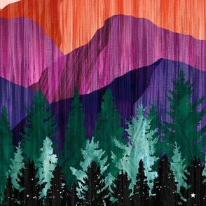 Moonlit Mountainscape - Black Sky - XL Scale