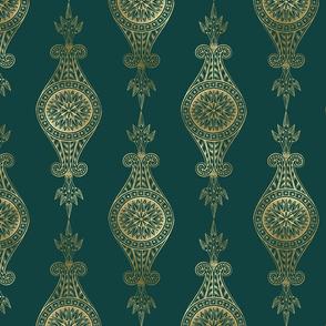 Teal and Gold Vintage Art Deco Damask Pattern