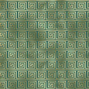 Teal and Gold Vintage Art Deco Greek Key Pattern