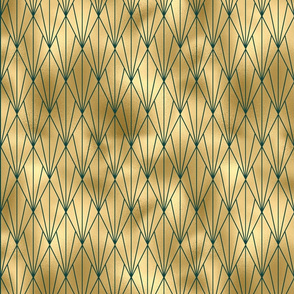 Teal and Gold Vintage Art Deco Fan Pattern