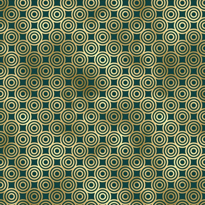 Teal and Gold Vintage Circles Pattern
