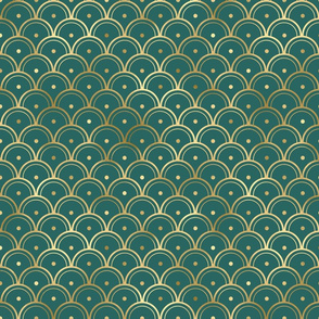 Teal and Gold Vintage Art Deco Dotted Scales Pattern
