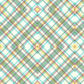 warm multicolored geometric diagonal plaid
