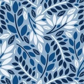 Geometric Botanicals Classic Blue