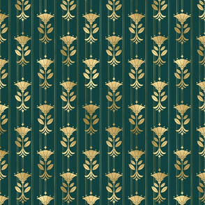 Teal and Gold Mini Vintage Art Deco Damask Pattern