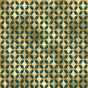 Teal and Gold Vintage Art Deco Quatrefoil Pattern