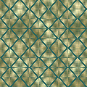 Teal and Gold Vintage Art Deco Lined Diamonds Pattern