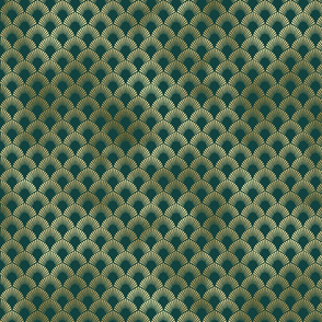 Teal and Gold Vintage Art Deco Ringed Scales Pattern