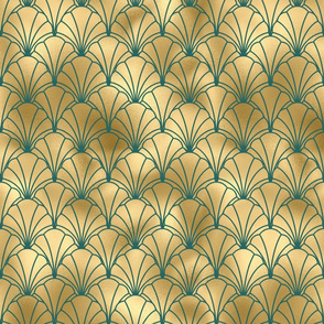 Teal and Gold Vintage Art Deco Scallop Shell Pattern