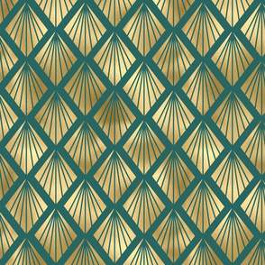 Teal and Gold Vintage Art Deco Diamond Fan Pattern