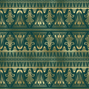 Teal and Gold Vintage Art Deco Egg and Dart Frieze Pattern