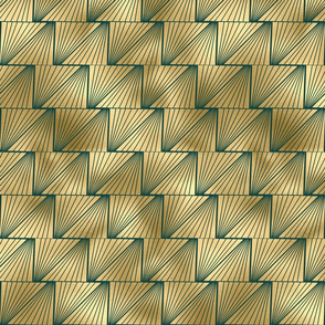 Teal and Gold Vintage Art Deco Lined Diamond Pattern