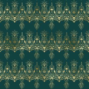 Teal and Gold Vintage Art Deco Damask Border Pattern