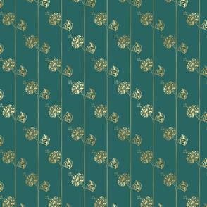 Teal and Gold Vintage Art Deco Floral Pattern