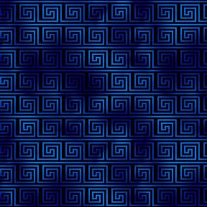 Black and Classic Blue Foil Vintage Art Deco Key Pattern