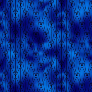 Black and Classic Blue Faux Foil Vintage Fan Art Deco Pattern