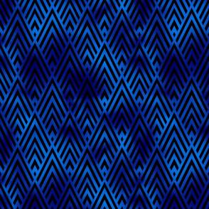 Diamond Chevrons in Black and Classic Blue Vintage Faux Foil Art Deco Vintage Foil Pattern