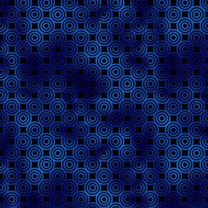Circle Rings in Black and Classic Blue Vintage Faux Foil Art Deco Vintage Foil Pattern