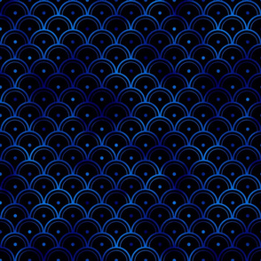 Dotted Scales in Black and Classic Blue Vintage Faux Foil Art Deco Vintage Foil Pattern