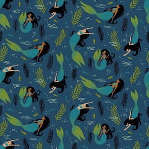 Black-Haired Mermaids on Dark Blue