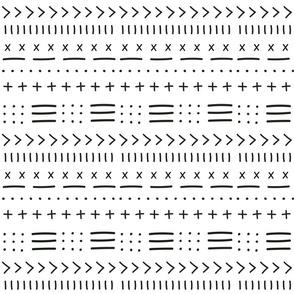 Black and White Mudcloth Arrow Boho Pattern