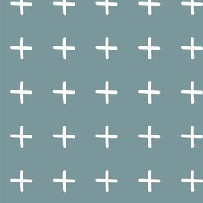 Light Blue Plus Sign Mudcloth Boho Pattern