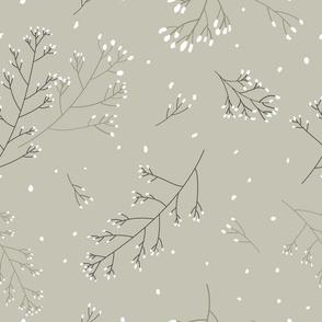 Dusty green wild grass seamless pattern