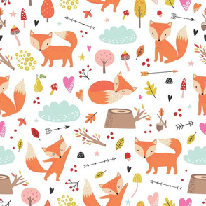 Cute foxes pattern
